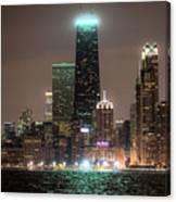 Chicago Skyline At Night North Ave Beach V2 Dsc1732 Canvas Print