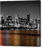 Chicago Skyline - Black And White With Color Reflection Canvas Print