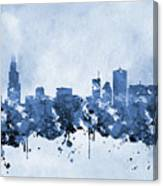Chicago Skyline-blue 2 Canvas Print