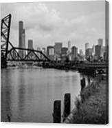 Chicago Skyline From The Southside In Black And White Canvas Print