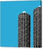 Chicago Skyline Marina Towers - Teal Canvas Print