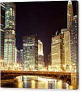 Chicago State Street Bridge At Night Canvas Print