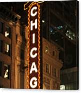Chicago Theater At Night Canvas Print
