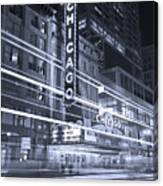Chicago Theater Marquee B And W Canvas Print