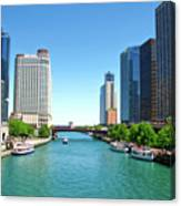 Chicago Tour Boats Parked On The River Canvas Print
