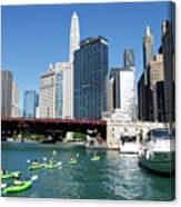 Chicago Watching The Kayaks On The River Canvas Print