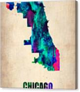 Chicago Watercolor Map Canvas Print