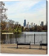 Chicago With Benches Canvas Print