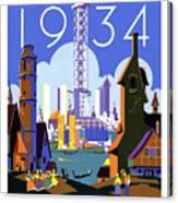 Chicago, World Fair, Vintage Travel Poster Canvas Print
