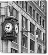 Chicago's Father Time Clock Bw Canvas Print