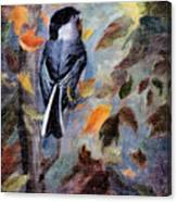 Chickadee In The Fall Canvas Print