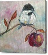 Chickadee On An Apple Tree Canvas Print