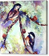 Chickadees On Twig Canvas Print
