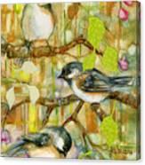 Chickadees Three Canvas Print