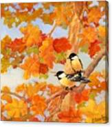 Chickadees With Oak Leaves Canvas Print