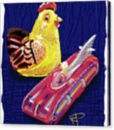 Chicken And Rocket Car Canvas Print