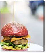Chicken Burger With Gherkins Beetroot Bread Bun Canvas Print
