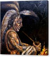 Chief At The Campfire Canvas Print