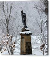 Chief John Logan Statue In The Snow Canvas Print