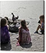 Children At The Pond 2 Canvas Print