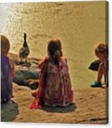 Children At The Pond 4 Canvas Print