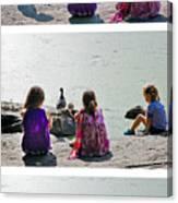 Children At The Pond Triptych Canvas Print