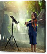 Children In Folk Costumes Playing Violin In Thailand Canvas Print