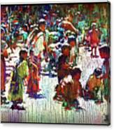 Children Picking Up Candy Canvas Print