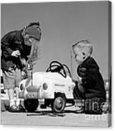 Children Play At Repairing Toy Car Canvas Print