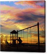 Children Playground At Sunset Canvas Print