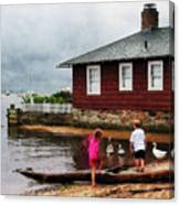 Children Playing At Harbor Essex Ct Canvas Print