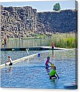 Children Playing In Dierkes Lake In Snake River Above Shoshone Falls Near Twin Falls-idaho  Canvas Print