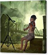Children Playing Violin In The Folk Style. Canvas Print