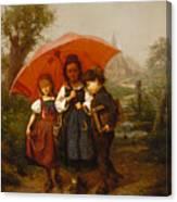Children Under A Red Umbrella Canvas Print
