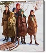 Children With A Sled Nikolai Petrovich Bogdanov-belsky Canvas Print