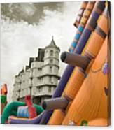 Childrens Play Areas Contrast With The Victorian Elegance Of The Grand Hotel In Llandudno Wales Uk Canvas Print