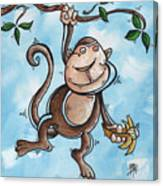Childrens Whimsical Nursery Art Original Monkey Painting Monkey Buttons By Madart Canvas Print