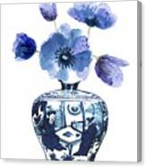 China Blue Vase  With Poppy Flower Canvas Print