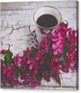 Chinaberry Blossoms And Coffee Cup Canvas Print