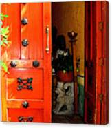 Chinese Red Shop Door Canvas Print