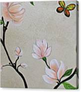 Chinoiserie - Magnolias And Birds #3 Canvas Print
