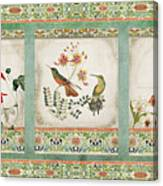 Triptych - Chinoiserie Vintage Hummingbirds N Flowers Canvas Print