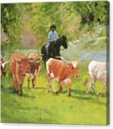 Chisholm Trail Texas Longhorn Cattle Drive Oil Painting By Kmcelwaine Canvas Print