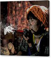 Cho Chin Woman Smoking  Canvas Print
