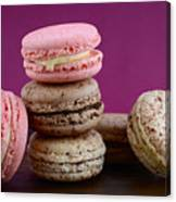 Chocolate And Strawberry Macaroons Canvas Print