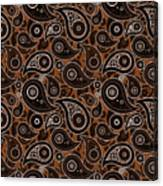 Chocolate Brown Paisley Design Canvas Print