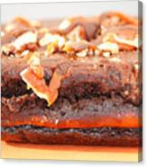 Chocolate Brownie With Nuts Dessert Canvas Print