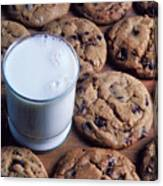 Chocolate Chip Cookies And Glass Of Milk Canvas Print