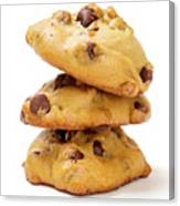 Chocolate Chip Cookies Isolated On White Background Canvas Print