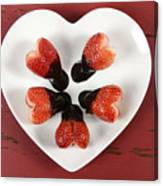 Chocolate Dipped Heart Shaped Strawberries On Heart Shape White Plate Canvas Print